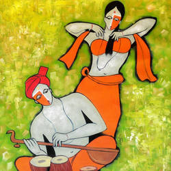 musical couple, 34 x 30 inch, chetan katigar,figurative paintings,paintings for living room,love paintings,canvas,oil,34x30inch,GAL0266942heart,family,caring,happiness,forever,happy,trust,passion,romance,sweet,kiss,love,hugs,warm,fun,kisses,joy,friendship,marriage,chocolate,husband,wife,forever,caring,couple,sweetheart