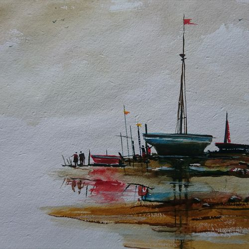 seashore boats, 14 x 10 inch, mahendra shewale,nature paintings,paintings for living room,paper,watercolor,14x10inch,GAL018729422Nature,environment,Beauty,scenery,greenery