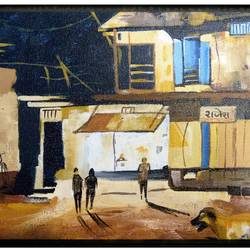 old street, 18 x 12 inch, nalini jain,street art,paintings for living room,modern art paintings,canvas,acrylic color,18x12inch,GAL041289430