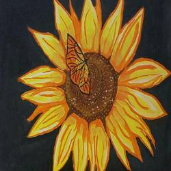 the sunflower, 16 x 12 inch, abhik mahanti,paintings,flower paintings,paintings for office,canvas,acrylic color,16x12inch,GAL040449437