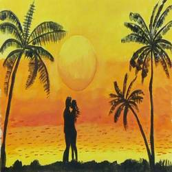the romance, 16 x 12 inch, abhik mahanti,paintings,landscape paintings,canvas,acrylic color,16x12inch,GAL040449438