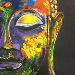 gautam buddha , 10 x 11 inch, roshan agarwal,paintings,buddha paintings,paintings for living room,thick paper,poster color,10x11inch,religious,peace,meditation,meditating,gautam,goutam,buddha,colorful,face,side,GAL041309440