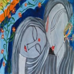 the folk radha-krishna, 14 x 10 inch, abhik mahanti,paintings for bedroom,radha krishna paintings,canvas,acrylic color,14x10inch,GAL040449446,radhakrishna,love,pece,lordkrishna,lordradha,peace,radha,krishna,devotion,couple