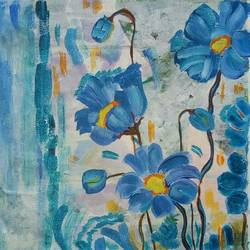 the flowewrs in blue, 11 x 12 inch, abhik mahanti,paintings,flower paintings,paintings for living room,canvas,acrylic color,11x12inch,GAL040449448