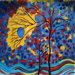 the tree and the sunset, 16 x 12 inch, abhik mahanti,paintings,abstract paintings,paintings for office,canvas,acrylic color,16x12inch,GAL040449449