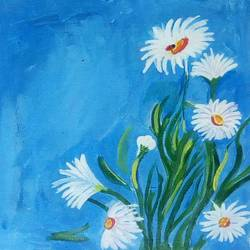 the white flowers and the blue wall, 12 x 14 inch, abhik mahanti,paintings,flower paintings,canvas,acrylic color,12x14inch,GAL040449451
