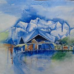 himaliya, 29 x 22 inch, hitesh kumar,paintings,paintings for living room,landscape paintings,thick paper,acrylic color,29x22inch,GAL041159453