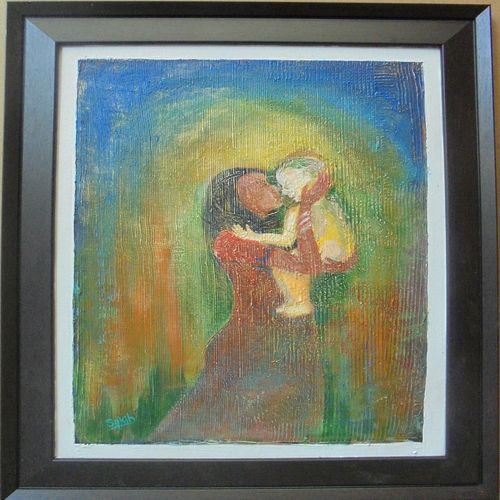 mother and child, 14 x 18 inch, sakib khan,paintings,abstract paintings,paintings for bedroom,canvas,acrylic color,14x18inch,GAL033179460