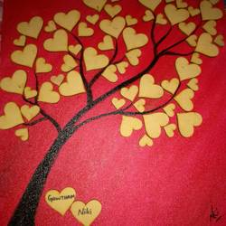 tree with love leaves, 10 x 12 inch, nikila gowtham,paintings,contemporary paintings,paintings for bedroom,canvas,oil,10x12inch,GAL041339466