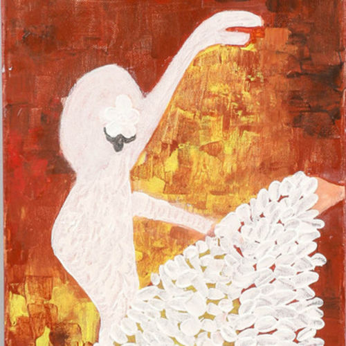 dancing girl - the ballerina, 12 x 24 inch, nidhi gupta,abstract paintings,paintings for living room,vertical,canvas,acrylic color,12x24inch,GAL041359472