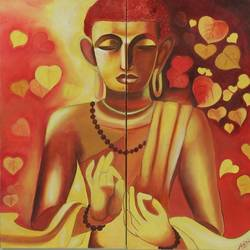 buddha in meditation, 24 x 24 inch, nidhi gupta,buddha paintings,paintings for living room,square,canvas,oil,24x24inch,religious,peace,meditation,meditating,gautam,goutam,buddha,leaf,red,blessing,GAL041359473