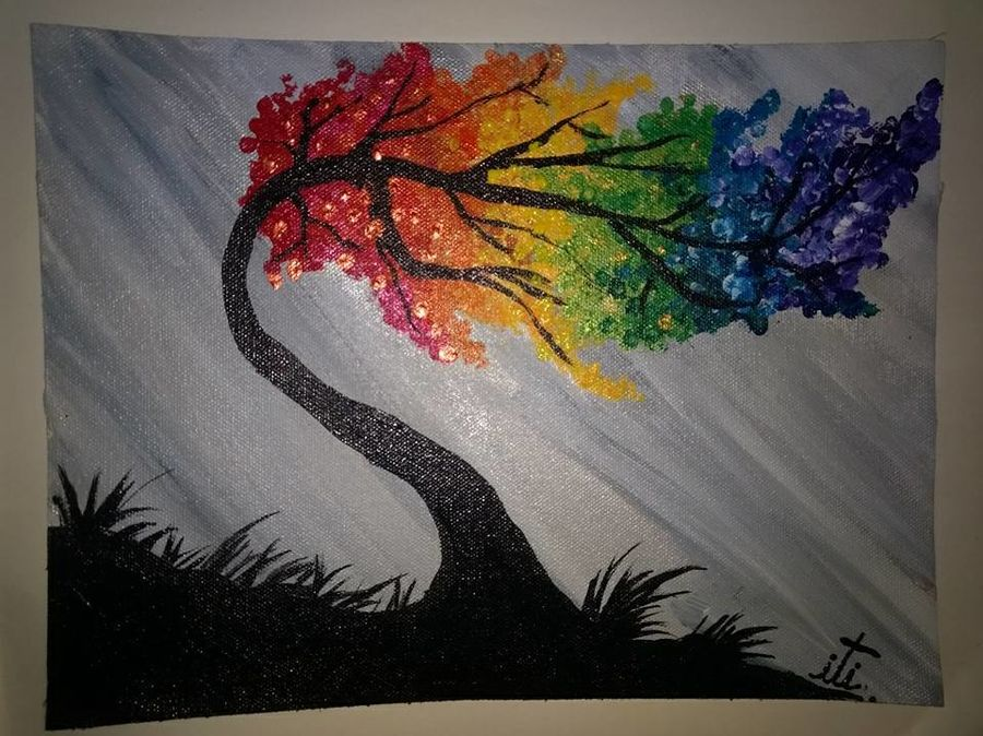 windy rainbow tree, 3 x 12 inch, iti trehan,paintings,landscape paintings,paintings for office,canvas,acrylic color,3x12inch,GAL036659477