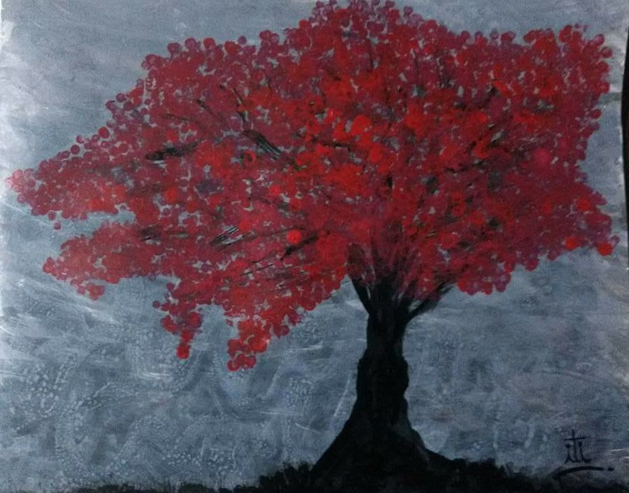 oak tree with cherry red leaves, 10 x 14 inch, iti trehan,paintings,landscape paintings,paintings for dining room,thick paper,acrylic color,10x14inch,GAL036659478