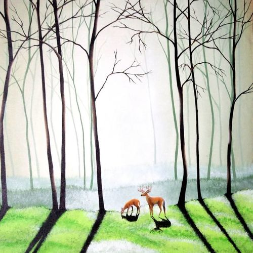 forest routine, 21 x 21 inch, colorful art arts and crafts,landscape paintings,paintings for dining room,canvas,acrylic color,21x21inch,GAL0393948