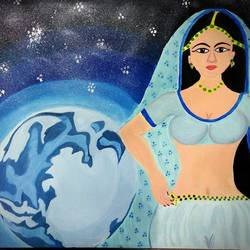 lady on moon, 23 x 33 inch, sakshi pareek,paintings for dining room,figurative paintings,brustro watercolor paper,oil,23x33inch,GAL035119481