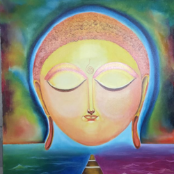 buddha - reviving moral values series (3), 36 x 48 inch, ankur gaur,buddha paintings,paintings for living room,canvas board,oil,36x48inch,religious,peace,meditation,meditating,gautam,goutam,buddha,face,temple,GAL029689484