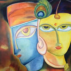 krishna and radha - love series (1), 36 x 48 inch, ankur gaur,radha krishna paintings,canvas board,oil,36x48inch,GAL029689485,radhakrishna,lordkrishna,love,lord,radha,krishna,couple