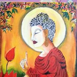 buddha-eternal peace, 18 x 24 inch, shelly kapoor,paintings,buddha paintings,paintings for living room,canvas,fabric,18x24inch,religious,peace,meditation,meditating,gautam,goutam,buddha,lotus,red,side face,GAL041419487