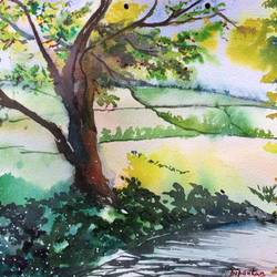 village greens, 15 x 10 inch, dipankar  biswas,landscape paintings,paintings for bedroom,handmade paper,watercolor,15x10inch,GAL029329492