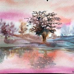 pink river , 15 x 10 inch, dipankar  biswas,landscape paintings,paintings for bedroom,handmade paper,watercolor,15x10inch,GAL029329493