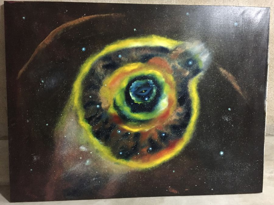 the cosmic eye: cosmos series (1), 36 x 48 inch, ankur gaur,paintings,abstract paintings,paintings for living room,canvas board,oil,36x48inch,GAL029689494