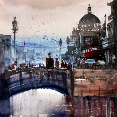 london, 6 x 4 inch, sankar thakur,landscape paintings,paintings for living room,fabriano sheet,watercolor,6x4inch,GAL0795