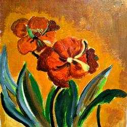 the brown flowers, 10 x 12 inch, abhik mahanti,paintings,flower paintings,canvas,acrylic color,10x12inch,GAL040449509