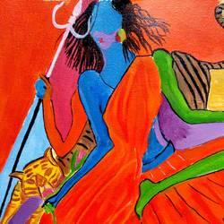 the durga devi, 12 x 15 inch, abhik mahanti,paintings,abstract paintings,paintings for living room,canvas,acrylic color,12x15inch,GAL040449512
