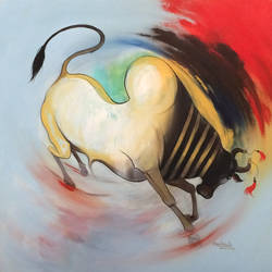 bull 01, 30 x 30 inch, harish bhoyar,paintings,figurative paintings,paintings for living room,canvas,acrylic color,30x30inch,GAL041549513