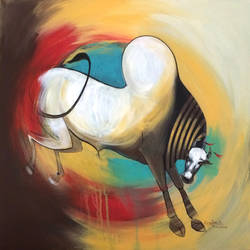 bull 02, 24 x 24 inch, harish bhoyar,paintings,figurative paintings,paintings for living room,canvas,acrylic color,24x24inch,GAL041549514