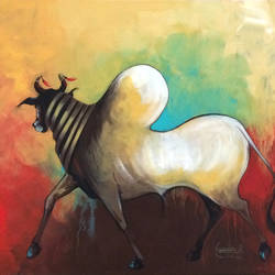 bull 03, 20 x 16 inch, harish bhoyar,paintings,figurative paintings,paintings for living room,canvas,acrylic color,20x16inch,GAL041549515
