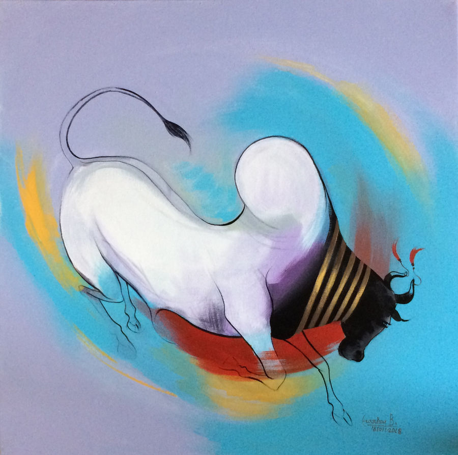 bull 04, 24 x 24 inch, harish bhoyar,paintings,figurative paintings,paintings for living room,canvas,acrylic color,24x24inch,GAL041549516
