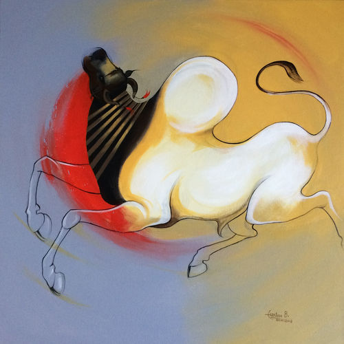 bull 05, 30 x 30 inch, harish bhoyar,paintings,figurative paintings,paintings for living room,canvas,acrylic color,30x30inch,GAL041549517