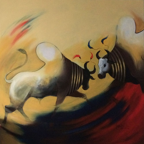 bull 06, 60 x 60 inch, harish bhoyar,figurative paintings,paintings for living room,vertical,canvas,acrylic color,60x60inch,GAL041549518