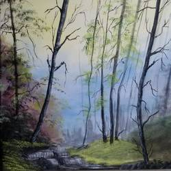 the silent forest, 16 x 16 inch, sanjana  v,paintings,nature paintings,paintings for bedroom,canvas,acrylic color,16x16inch,GAL041589521Nature,environment,Beauty,scenery,greenery,greenery,forests,