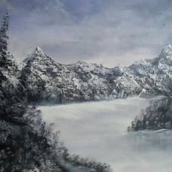 snowy mountains , 24 x 18 inch, sanjana  v,paintings,nature paintings,paintings for living room,canvas,acrylic color,24x18inch,GAL041589522Nature,environment,Beauty,scenery,greenery,snowy,snow,mountains,fog