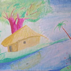 home scenery  , 13 x 9 inch, amarjeet jaiswar,paintings,landscape paintings,paintings for bedroom,drawing paper,watercolor,13x9inch,GAL041659531