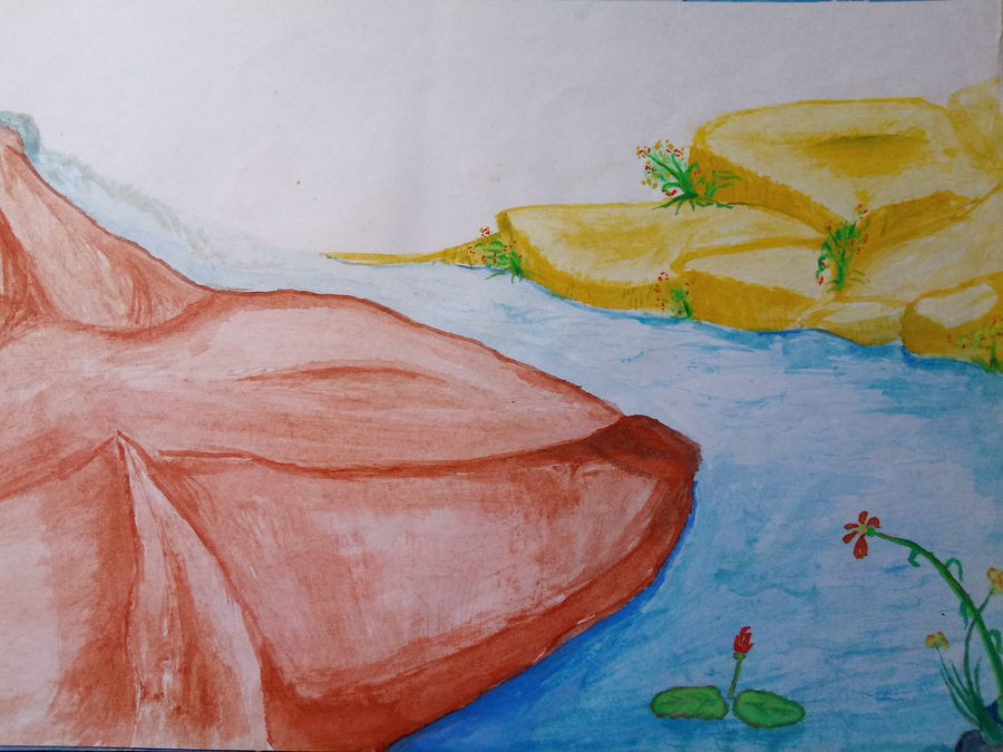 mountain water, 13 x 9 inch, amarjeet jaiswar,paintings,landscape paintings,paintings for bedroom,thick paper,watercolor,13x9inch,GAL041659534