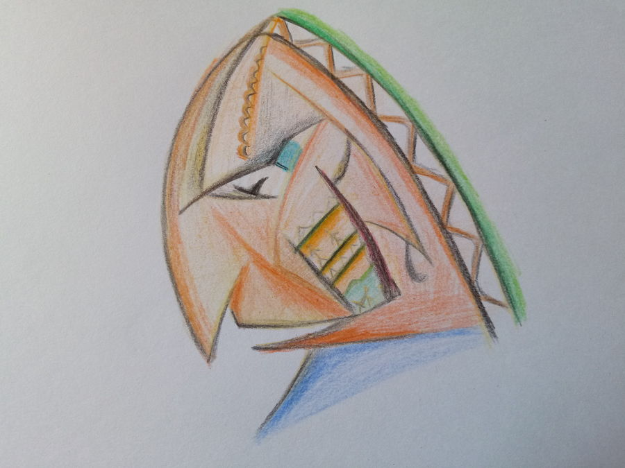 face art design, 16 x 11 inch, amarjeet jaiswar,cubism drawings,paintings for bedroom,modern art paintings,thick paper,watercolor,16x11inch,GAL041659535