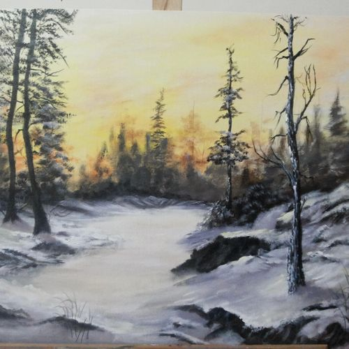 frozen lake, 24 x 18 inch, sanjana  v,nature paintings,paintings for living room,square,canvas,acrylic color,24x18inch,GAL041589549Nature,environment,Beauty,scenery,greenery,beautiful,mountain,mist,fog,trees,leaves