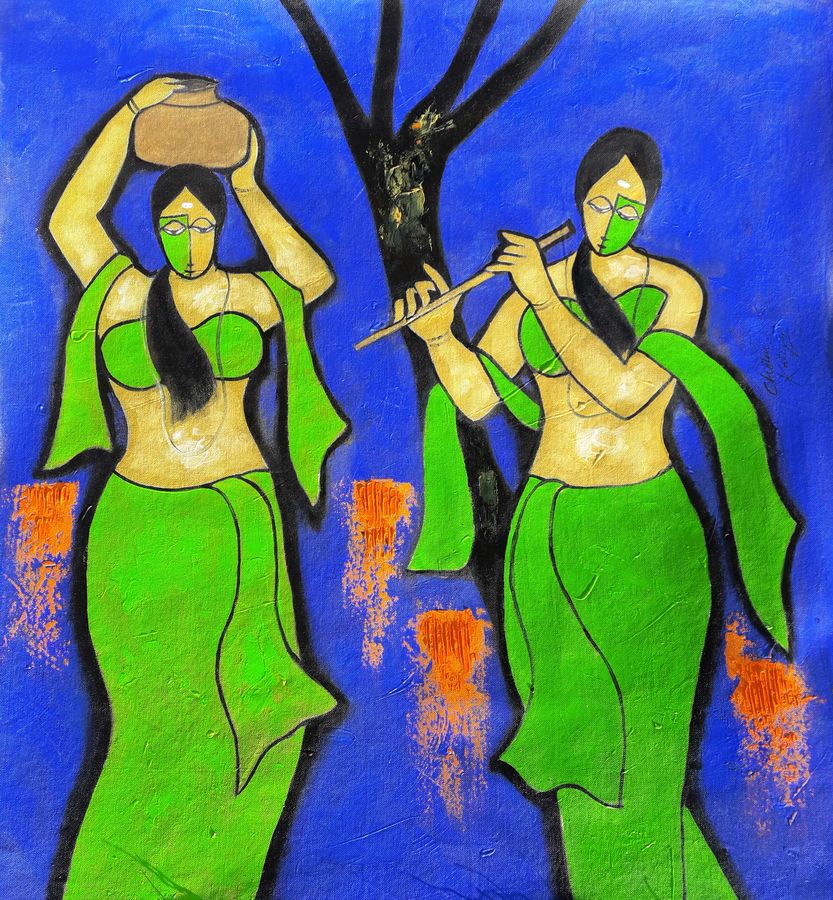 sakhi, 27 x 27 inch, chetan katigar,figurative paintings,paintings for living room,canvas,mixed media,27x27inch,GAL0266955