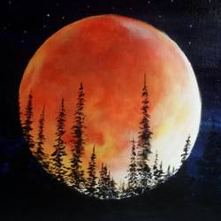 red moon, 16 x 12 inch, sanjana  v,nature paintings,paintings for bedroom,horizontal,canvas,acrylic color,16x12inch,GAL041589551Nature,environment,Beauty,scenery,greenery