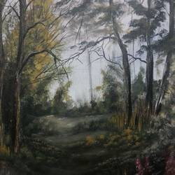 walk in the forest, 10 x 12 inch, sanjana  v,paintings,nature paintings,paintings for bedroom,wildlife paintings,landscape paintings,canvas,acrylic color,10x12inch,GAL041589552Nature,environment,Beauty,scenery,greenery,forests,trees