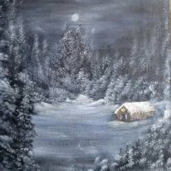 snowy night, 16 x 20 inch, sanjana  v,landscape paintings,paintings for living room,vertical,canvas,acrylic color,16x20inch,GAL041589553