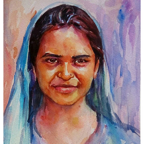 village women, 8 x 11 inch, periasamy samikannu,paintings,portrait paintings,paintings for living room,arches paper,watercolor,8x11inch,GAL041149555