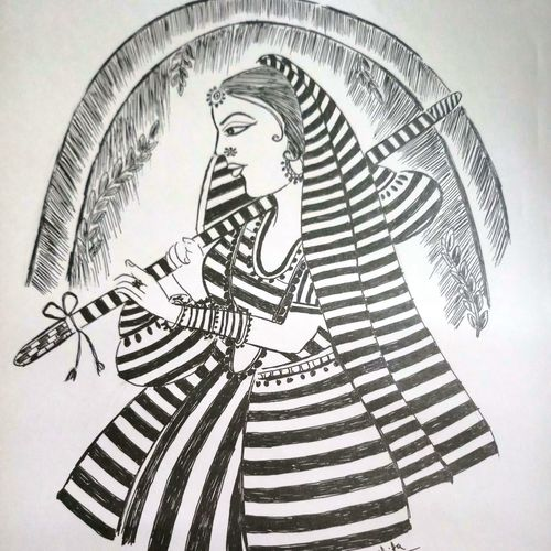 meera, 14 x 10 inch, shuchita srivastava,drawings,expressionist drawings,paintings for living room,paper,ink color,14x10inch,GAL039849575