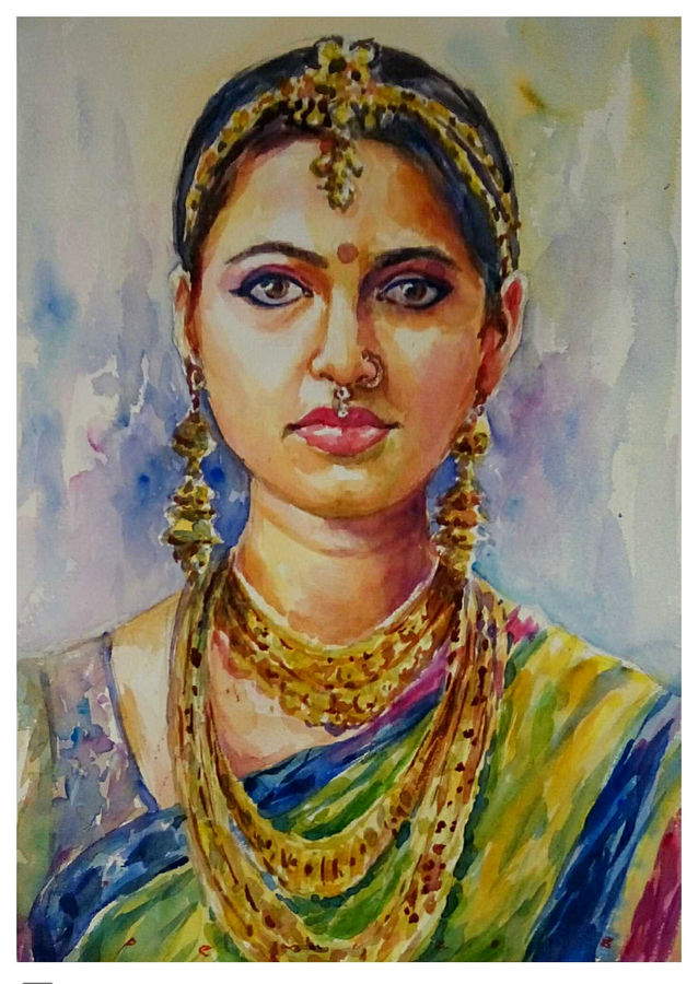 classical dancer, 10 x 14 inch, periasamy samikannu,paintings,portrait paintings,paintings for living room,arches paper,watercolor,10x14inch,GAL041149576