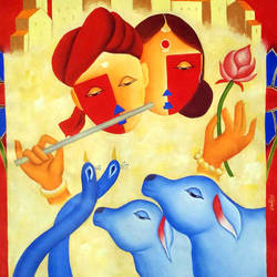 blue moon , 30 x 35 inch, chetan katigar,religious paintings,paintings for living room,canvas,oil,30x35inch,GAL0266958