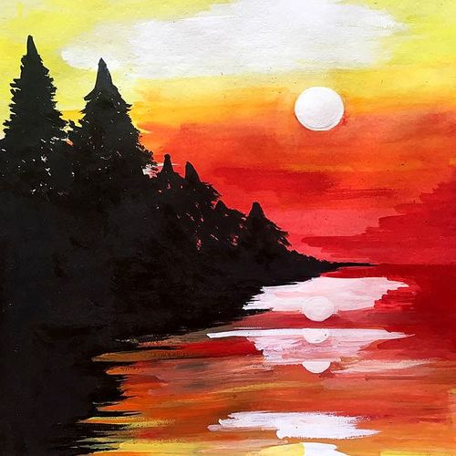 lake side sunset view, 11 x 13 inch, seema agrawal,paintings,nature paintings,paintings for living room,cartridge paper,watercolor,11x13inch,GAL018599591Nature,environment,Beauty,scenery,greenery