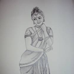 dancer, 10 x 14 inch, ashwini ds,drawings,portrait drawings,paintings for living room,handmade paper,graphite pencil,10x14inch,GAL042089593